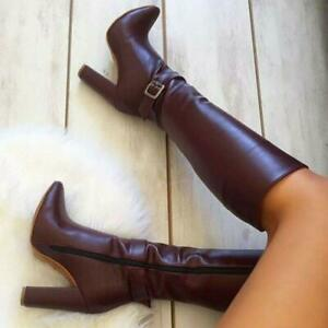 47 46 45 Gothic Women Pointy Toe Block Heel Buckle Knee High Knight Boots Runway