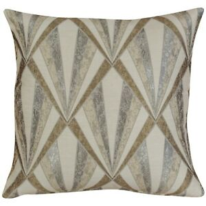 "Metallic Art Deco Geometric Cushion. Natural Cream. 17"" Square. Double Sided."