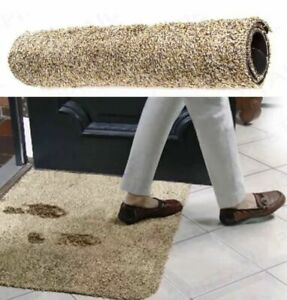 NEW SUPER ABSORBENT MAGIC DOOR MAT Entrance Muddy Feet/Paws WASHABLE RUG BROWN