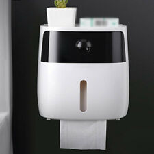 Wall Mounted Toilet Paper Roll Dispenser Bathroom Tissue Box Tray Container Tool