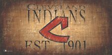 """Cleveland Indians Throwback Retro Heritage Est 1901 Wood Sign 12"""" x 6 Wall Decor"""