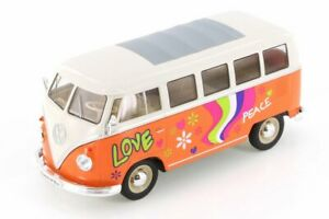 1963 VOLKSWAGEN CLASSICAL T1 BUS W/ PEACE DECALS WELLY 22095WOR 1/24 DIECAST
