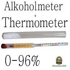 Alkoholmeter + Messzylinder +Termometer 0-96% Hydrometer Alkoholometer Bimber