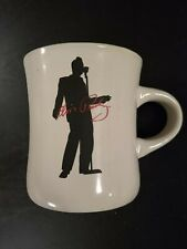 Pair of Vintage Elvis Presley Black Silhouette and Red Signature on White Mugs.