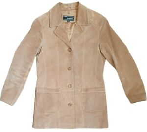 ws leather womens vintage jacket buttons casual real leather tan euro 38 size 10