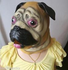 Latex Full Head Realistic House Pet Pug DogMaskFancy Dress Up Party Halloween