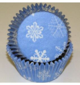 Christmas Snowflakes Frozen Baking Cups - 50 Pack Patty Pans Cupcake Papers Xmas