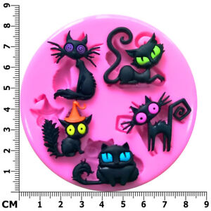 Halloween Cats Witches Black Cats Familiars Silicone Mould - Fairie Blessings