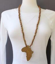 Brown wooden africa pendant necklace beads chain african map continent wood long