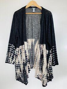 Catherines Plus Size 2X Black Beige Tie Dye Open Cardigan Sweater