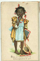 VINTAGE 1900s VALENTINE CARD/POSTCARD! BAREFOOT SCHOOL GIRL WITH STRAW HAT!