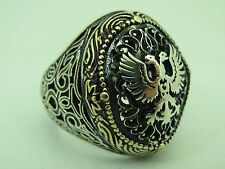 Turkish Handmade Ottoman Style 925 Sterling Silver Eagle Desing Men's Ring Sz 11
