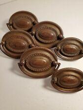 6 Vintage FEDERAL HEPPLEWHITE Brass Plated,  DRAWER PULLs,