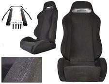 NEW 1 PAIR BLACK CLOTH & BLACK STITCHING ADJUSTABLE RACING SEATS ALL TOYOTA **