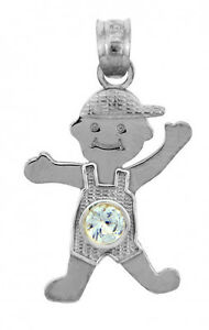 White Gold March Birthstone Aquamarine Light Blue CZ Baby Boy Charm Pendant