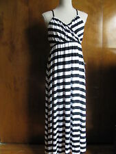 Gap Women's Black/White Striped Summer Rayon Long Dress Size Large NWT