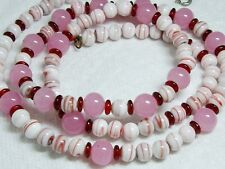 Vintage Hand Painted  Milk Glass Pink & Red Necklace