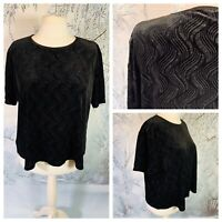 Ladies Black Top Size XL 24/26 BONMARCHE  Velvet Sparkly Stretchy Short Sleeve