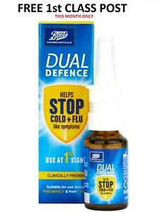 Boots DUAL DEFENCE Nasal Spray Helps Stop Cold Flu Symptoms 20ml - FAST DISPATCH