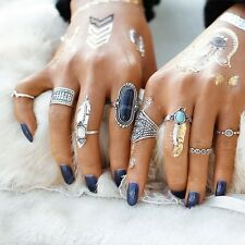 UK BOHO 8PC RING SET Bohemian Gypsy Ethnic Tribal Festival Jewellery Gift Silver