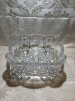 """Vintage Bohemian Square Cut Lead Crystal 9 1/2"""" Footed Bowl Czech Centerpiece"""
