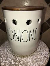 Rae Dunn LL ONIONS CELLAR Onion Holder + Wooden Lid FAST SHIP Expert RD Shipper!