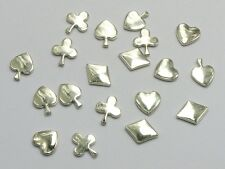 200 Silver Tone Metallic Acrylic Flatback Poker HEARTS,CLUBS,DIAMONDS,SPADE