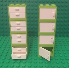 Lego X8 New Lime Green Cupboard Container W/ Doors And Drawers / Kitchen Cabinet