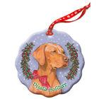Vizsla Holiday Porcelain Christmas Tree Ornament