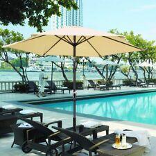 8Ft Outdoor Patio w/ Aluminum Tilt Crank Umbrella Cafe Yard Beach Pool Beige