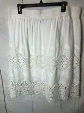Grace Elements Women Skirt Size 2X White Crochet Lace Elastic Waist Lined Cotton