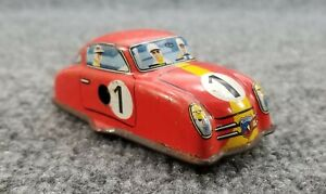 "VINTAGE TIN LITHO RACE CAR PORSCHE WINDUP 3 1/2"" LONG W. GERMANY"