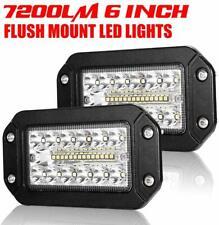 2Pcs Flush Mount LED Work Light Pods 6 Inch Spot Flood Beam 7200LM Driving Light