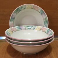 """4 China Pearl Stoneware BOWLS Sara SOUP CEREAL Pink Purple Yellow Flowers 7 1/4"""""""