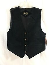 NWT Scully Black Suede Leather Vest Lined Style-504 Medium new unused
