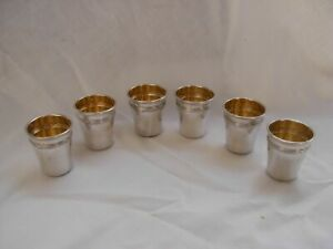 ANTIQUE,FRENCH STERLING SILVER LIQUOR GOBLETS,SET OF 6,LATE XIX CENTURY.