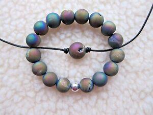Metallic Titanium Coated Druzy Geode Quartz Agate Bracelets or Necklace.