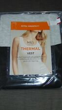 M&S Set of 2 Extra Warm Thermal Lace Trim Vest Tops 20 1 Black 1Grey BNWT