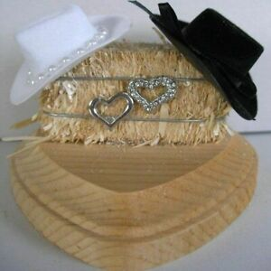 Western Heart Decoration,Country Love, White and Black Cowboy Hats, on Haybale