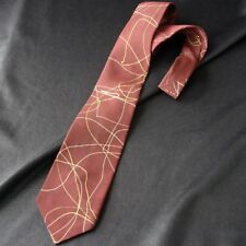 Vintage Gold & Ivory Squiggle Pattern Rust Tie 50s