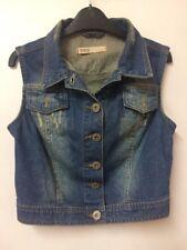 Vintage Taille 10 Veste en jean effet vieilli Manchots Festival d'automne Casual sans manches