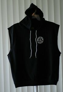 Gold's Gym Sleeveless Shirt with Hood Printed Black Size XL