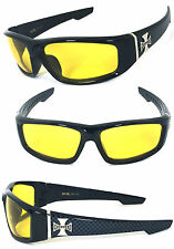 Choppers Cross Logo Mens Motor Sunglasses - C39 Shiny Black/ Night Driving Lens