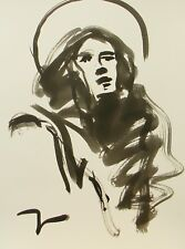 JOSE TRUJILLO ABSTRACT EXPRESSIONIST INK WASH SAINT PORTRAIT HOLLY IMPRESSIONIST