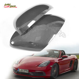 Dry Real Carbon Fiber Side Mirror Cover Cap For Porsche 718 Boxster Cayman 16-21