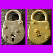 FRAIM (keystone) Antique small 2 inch tall Steel Railroad Lock-no key hole cover