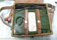 #DD. OLD GREEN BAKELITE BRITISH MEGGER OHMMETER IN LEATHER CASE