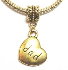 DAD Antiqued Gold_Bead For European Charm Bracelet_Father Daddy Family Love_i2