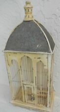 Big Distressed White Farmhouse Wooden Bird Cage Decorative