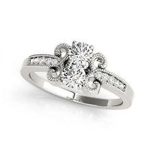 1.097 Carat White Vs2-Si1 Diamond Solitaire Engagement Ring 14k White Gold